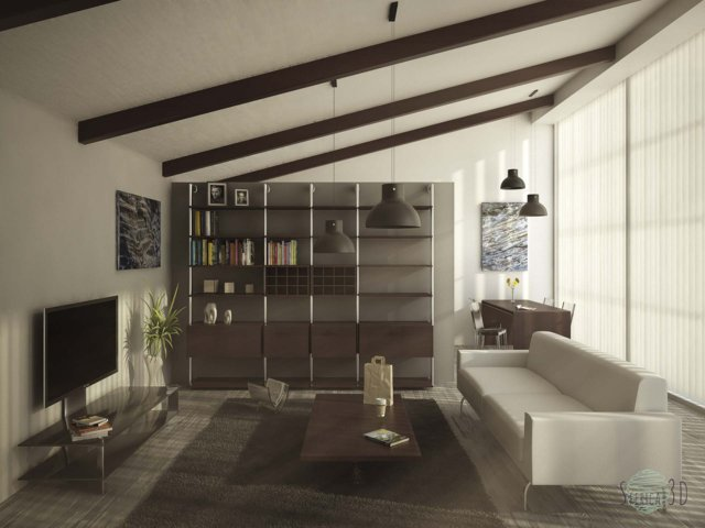 render living room di un loft