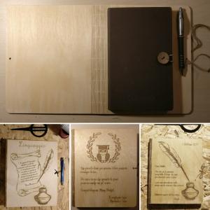 oggettistica, agenda, idee regalo, legno, incisioni, taglio laser