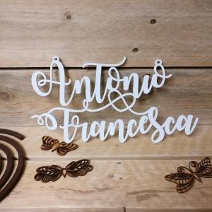 nomi, wedding, taglio laser, incisioni, legno