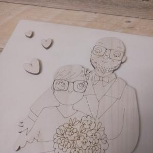 cake topper, wedding, taglio laser, incisioni, legno